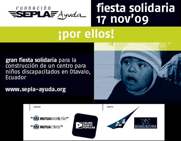 Cartel fiesta Sepla Ayuda Noviembre 2009